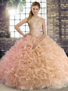 Clearance Peach Lace Up Quinceanera Dress Beading Sleeveless Floor Length