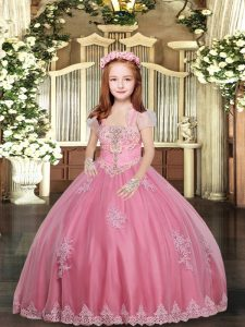 Glorious Sleeveless Lace Up Floor Length Appliques Little Girl Pageant Gowns