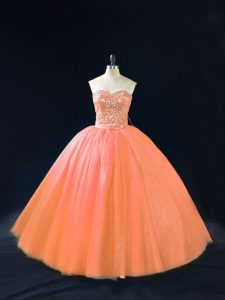Tulle Sweetheart Sleeveless Lace Up Beading Quince Ball Gowns in Peach