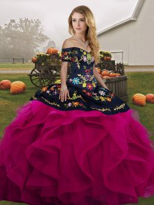 Custom Fit Fuchsia Sleeveless Tulle Lace Up Quinceanera Dress for Military Ball and Sweet 16 and Quinceanera