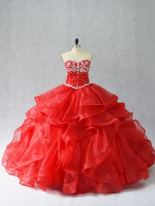 Beauteous Floor Length Red 15 Quinceanera Dress Sweetheart Sleeveless Lace Up