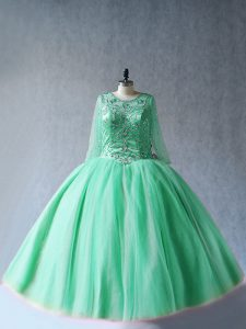 High Quality Apple Green Scoop Lace Up Beading Quinceanera Gowns Long Sleeves