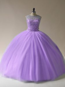 Suitable Tulle Scoop Sleeveless Lace Up Beading Quinceanera Dresses in Lavender