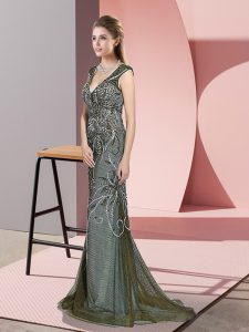Olive Green Prom Evening Gown V-neck Sleeveless Sweep Train Zipper