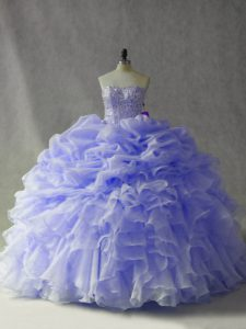 Lavender Organza Lace Up Sweet 16 Dress Sleeveless Brush Train Beading and Ruffles and Pick Ups