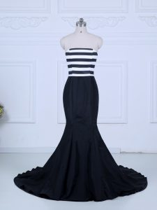 Ruching Prom Party Dress White And Black Lace Up Sleeveless Brush Train