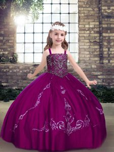 Discount Beading High School Pageant Dress Fuchsia Lace Up Sleeveless Floor Length
