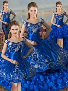 Royal Blue Lace Up 15th Birthday Dress Embroidery and Ruffled Layers Sleeveless Floor Length