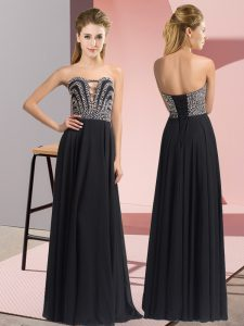 Luxurious Black Sleeveless Floor Length Beading Lace Up Homecoming Dress