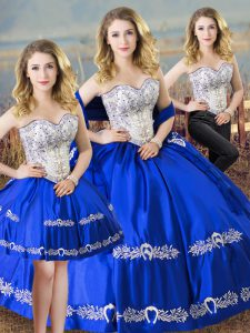 Luxury Royal Blue Sweetheart Neckline Beading and Embroidery Vestidos de Quinceanera Sleeveless Lace Up