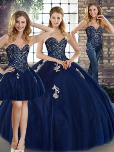 Fine Navy Blue Lace Up Ball Gown Prom Dress Beading and Appliques Sleeveless Floor Length