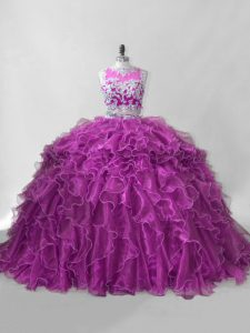 Fuchsia 15 Quinceanera Dress Organza Brush Train Sleeveless Beading and Ruffles