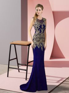Purple Sleeveless Appliques Zipper Evening Party Dresses