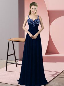 Cheap Navy Blue Sleeveless Chiffon Zipper Going Out Dresses for Prom and Party