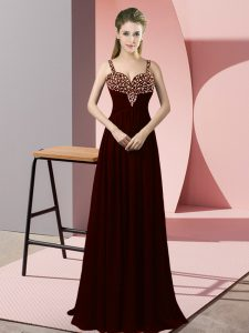 Great Burgundy Sleeveless Beading Floor Length Evening Outfits