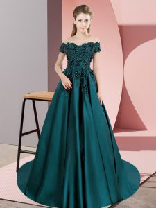 Lace 15 Quinceanera Dress Teal Zipper Sleeveless Floor Length Court Train