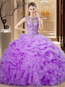 Scoop Sleeveless Organza 15th Birthday Dress Beading and Ruffles and Pick Ups Lace Up
