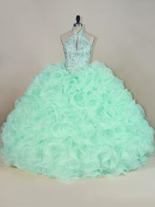 Apple Green Halter Top Lace Up Beading and Ruffles Quinceanera Gowns Brush Train Sleeveless
