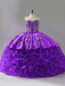 Admirable Sweetheart Sleeveless Brush Train Lace Up Vestidos de Quinceanera Purple Fabric With Rolling Flowers