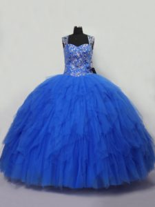 Blue Straps Neckline Beading and Ruffles Quince Ball Gowns Sleeveless Lace Up