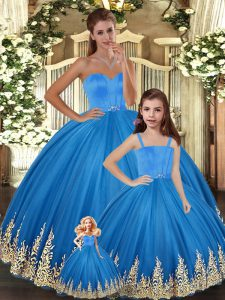 Luxury Floor Length Ball Gowns Sleeveless Blue 15th Birthday Dress Lace Up