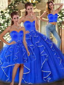 Tulle Sweetheart Sleeveless Lace Up Ruffles Sweet 16 Dress in Blue