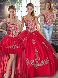 Best Selling Floor Length Red Quinceanera Dress Off The Shoulder Sleeveless Lace Up