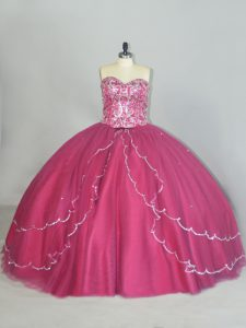 Admirable Sweetheart Sleeveless Tulle 15th Birthday Dress Beading and Sequins Brush Train Lace Up