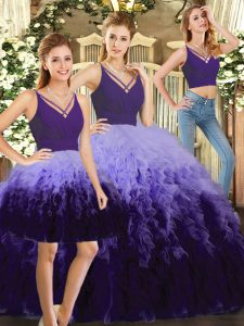 Inexpensive Ruffles Sweet 16 Quinceanera Dress Multi-color Backless Sleeveless Floor Length