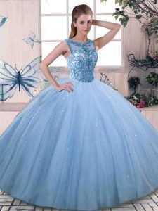 Fantastic Blue Tulle Lace Up Scoop Sleeveless Floor Length Quinceanera Gown Beading