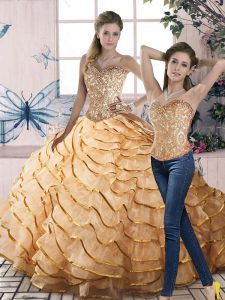 Suitable Two Pieces Sleeveless Gold Ball Gown Prom Dress Brush Train Lace Up