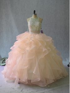 Excellent Halter Top Sleeveless Sweet 16 Dresses Beading and Ruffles Peach Organza