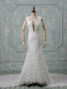 Most Popular Chiffon Sleeveless Wedding Gowns Court Train and Lace