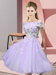 Lavender Short Sleeves Knee Length Appliques Lace Up Quinceanera Court Dresses