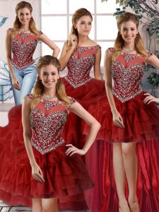 Sleeveless Brush Train Zipper Beading and Pick Ups Quince Ball Gowns