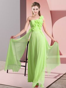 Lovely One Shoulder Sleeveless Lace Up Court Dresses for Sweet 16 Yellow Green Chiffon