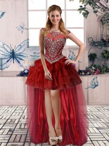 Burgundy A-line Scoop Sleeveless Tulle High Low Zipper Beading and Pick Ups Dress for Prom