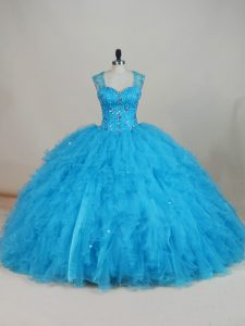 Baby Blue Zipper Straps Beading and Ruffles Sweet 16 Dress Tulle Sleeveless