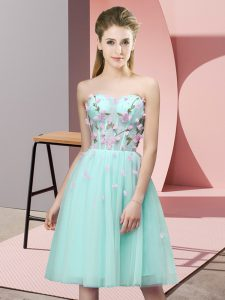 Sleeveless Lace Up Knee Length Appliques Quinceanera Court Dresses