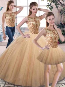 Beading 15 Quinceanera Dress Gold Lace Up Sleeveless Floor Length