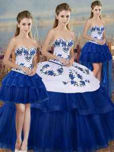 Royal Blue Ball Gowns Tulle Sweetheart Sleeveless Embroidery and Bowknot Floor Length Lace Up Ball Gown Prom Dress