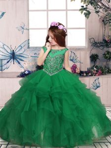 Beautiful Scoop Sleeveless Pageant Dress Floor Length Beading and Ruffles Green Organza
