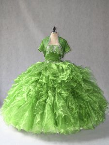 Comfortable Green Organza Lace Up Quinceanera Dress Sleeveless Floor Length Beading and Ruffles