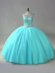 Affordable Aqua Blue Scoop Neckline Beading Quince Ball Gowns Sleeveless Lace Up