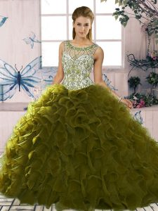 Free and Easy Sleeveless Floor Length Beading and Ruffles Lace Up Quinceanera Gowns with Olive Green