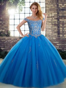 Blue Off The Shoulder Neckline Beading Quinceanera Dresses Sleeveless Lace Up