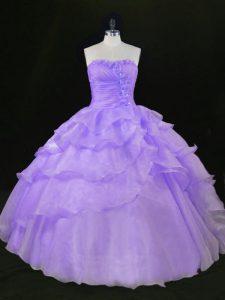 Lavender Organza Quinceanera Dress Sleeveless Floor Length Beading and Ruffles