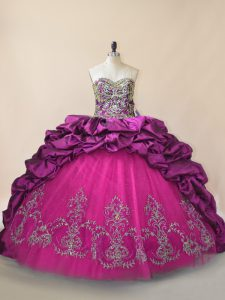 High Quality Purple Sweetheart Neckline Beading and Pick Ups Quinceanera Gown Sleeveless Lace Up