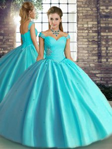 Tulle Off The Shoulder Sleeveless Lace Up Beading Sweet 16 Dress in Aqua Blue