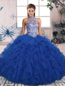 Blue Ball Gowns Tulle Halter Top Sleeveless Beading and Ruffles Floor Length Lace Up Ball Gown Prom Dress